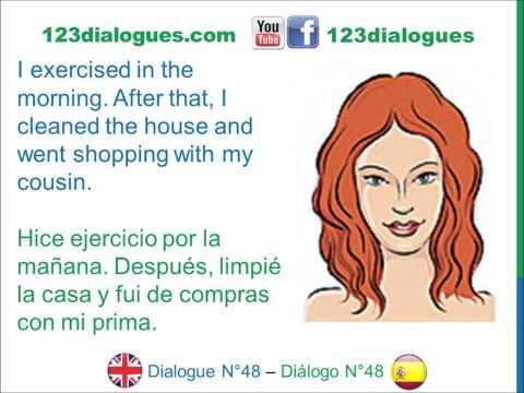 Dialogue 48 - Inglés Spanish - Last weekend - El fin de semana pasado