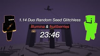 1.14 Duo Speedrun World Record w/ fruitberries in 23:46 | Minecraft Any% Random Seed Glitchless