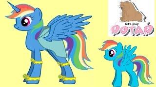 Рейнбоу Дэш Превращается в Пони Аликорн в Пони Креаторе Игры для Девочек