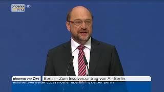 Insolvenzantrag von Air Berlin: Statement von Martin Schulz am 15.08.17