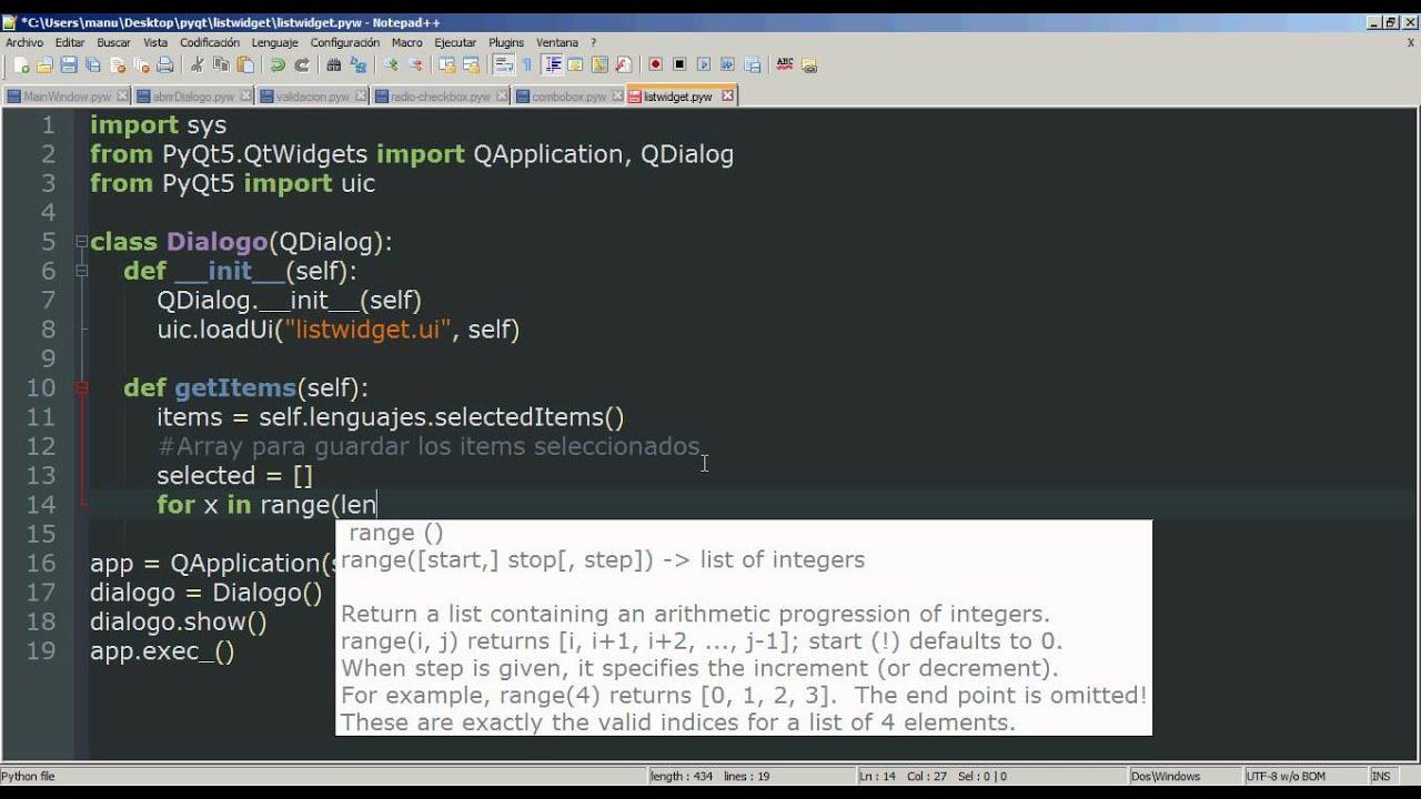 9 - Python PyQt (Interfaz gráfica) - List Widget (Selección de ...