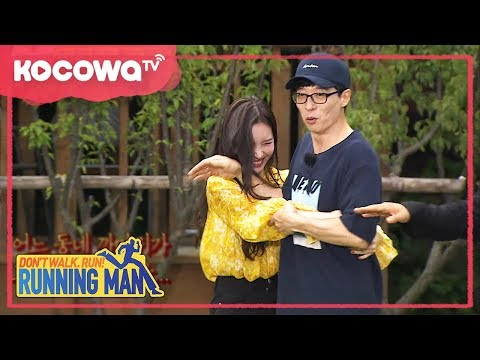 [RunningMan] Ep 367_0910_JaeSeok spontaneously pushed away SunMi when she hugged him