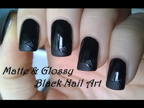 GLOSSY & MATTE Nail Art In Black - French Manicure Inspired Nails