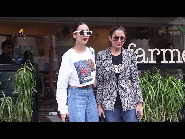 Malaika Arora and sister Amrita Arora spotted farmers Cafe at Bandra