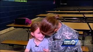 Returning soldier surprises daughter at school