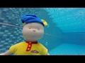 Caillou yüzüyor - Niloya yüzüyor - Kayu ve Niloya havuzda yüzüyor - Niloya havuza atlayıp düşüyor