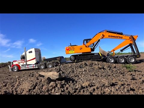 RC ADVENTURES - Semi pulling 1/14 scale Earth Digger 4200XL Excavator