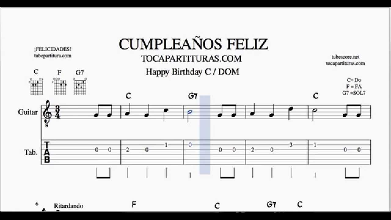 Cumpleaños Feliz Tablatura En Do Mayor Partitura Del Punteo De Guitarra Tab Youtube