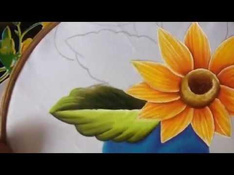 Pintura en tela camino de girasol 2 con cony youtube - Que pintura utilizar para madera ...
