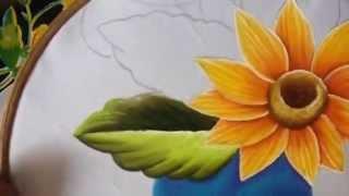 Pintura em tecido – Caminho de girassóis