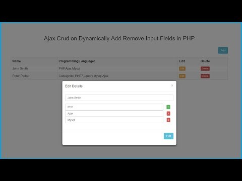 Ajax Crud on Dynamically Add Remove Input Fields in PHP
