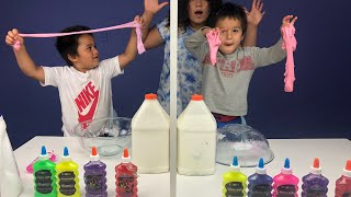 Twin Telepathy Slime Challenge! With My Little Brothers!