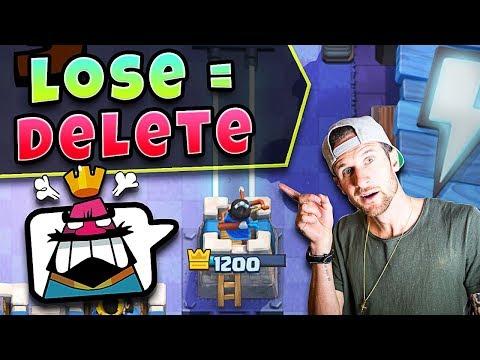 LOSE = DELETE ACCOUNT!? - Clash Royale lol