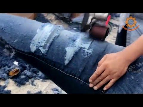 Как делают рваные джинсы в Китае
