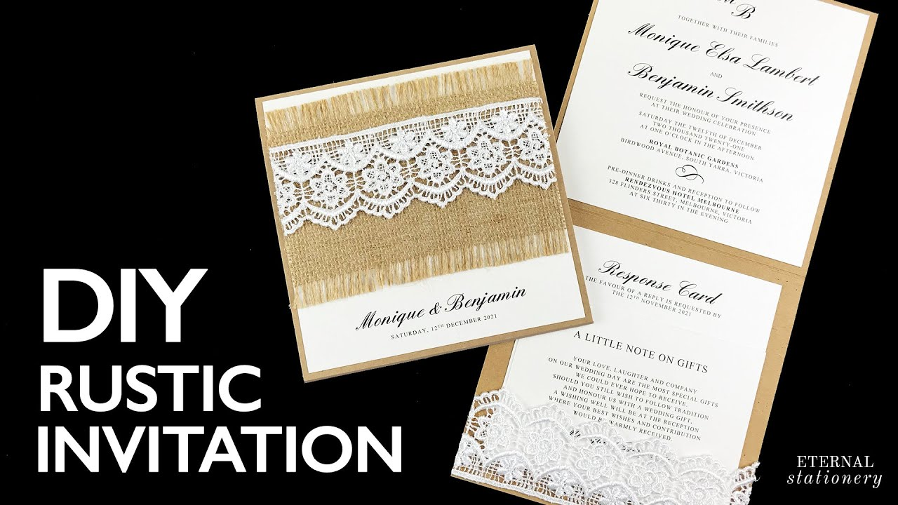 HOW TO MAKE YOUR OWN WEDDING INVITATION   Rustic Lace Pocket Invitation   Wedding Invitation DIY