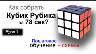 Урок 1. Как собрать кубик Рубика за 80 секунд?  Самое лучшее обучение. (2 часть из 7) Максим учит.