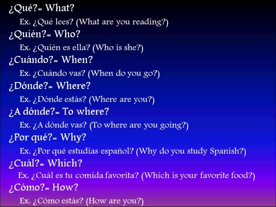 Spanish lesson: Question Words - YouTube