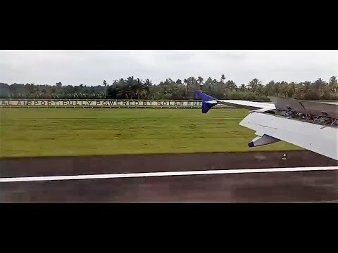 Plane landing on World's first fully solar powered airport