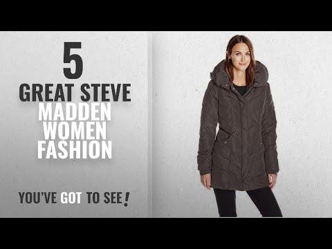 Steve Madden Women Fashion [2018 Best Sellers]: Steve Madden Women's Long Chervron Quilted Outerwear