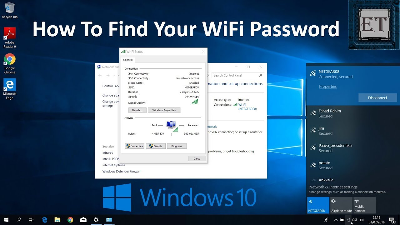 how can i find my wifi password windows 10