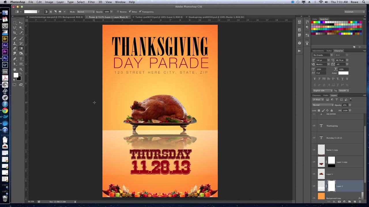 Poster design using photoshop - How To Create A Thanksgiving Flyer Poster In Adobe Photoshop Cs6 Youtube