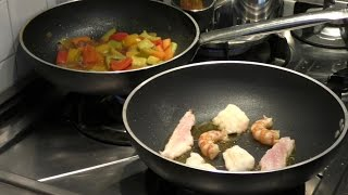 Italian Food Recipes. Fillets of Fish and Shrimps With Vegetables, Ginger and Turmeric