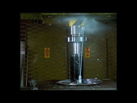 Pushing Non Newtonian Fluid Through Tiny Hole with Hydraulic Press