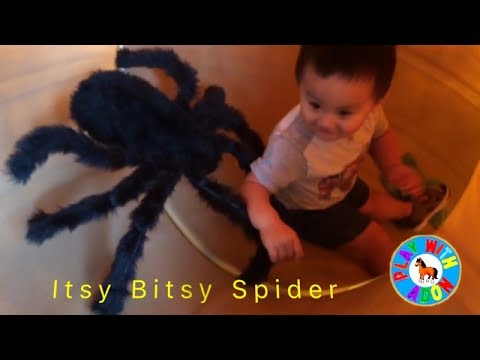 Itsy Bitsy Spider Nursery Rhyme song for children | Kids scary Spider at Park | Big  Spider toy