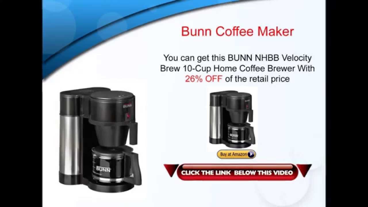 Bunn Coffee Maker - BUNN NHBB Velocity Brew 10 Cup Home Coffee Maker Review - YouTube