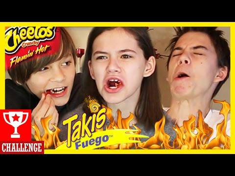 TAKIS FUEGO & FLAMIN' HOT CHEETOS CHALLENGE!  KID'S VERSION! |  KITTIESMAMA