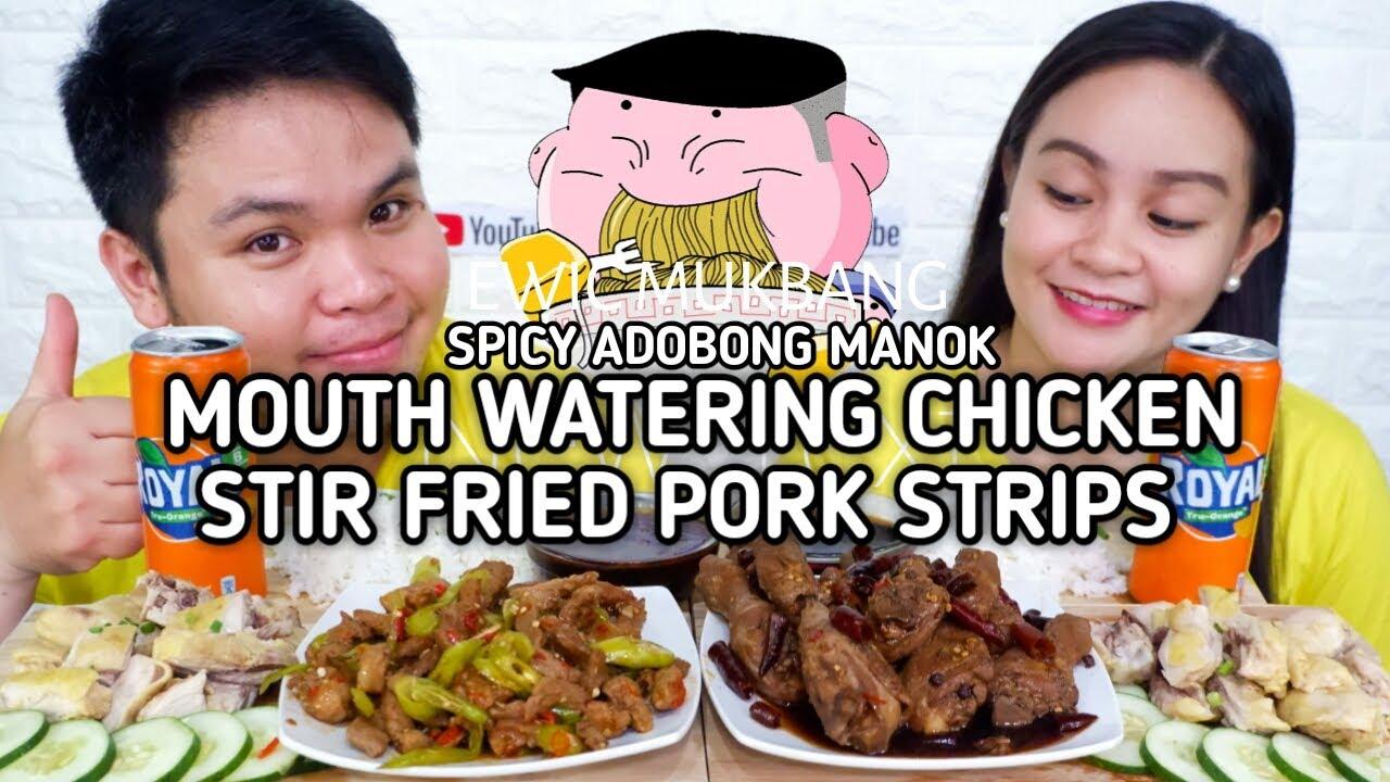 Spicy Adobong Manok, Mouth Watering Chicken At Stir Fried Pork Strips Mukbang / @YurDailyKitchen