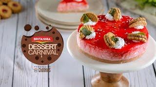 Strawberry Cheesecake Britannia Dessert Carnival Easy No Bake Dessert Recipe स्ट्रॉबेरी चीज़ केक