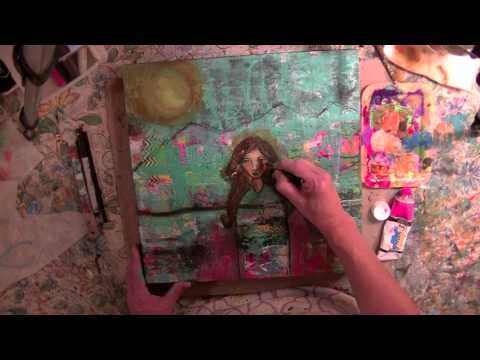 Mixed Media collage painting tutorial and process video