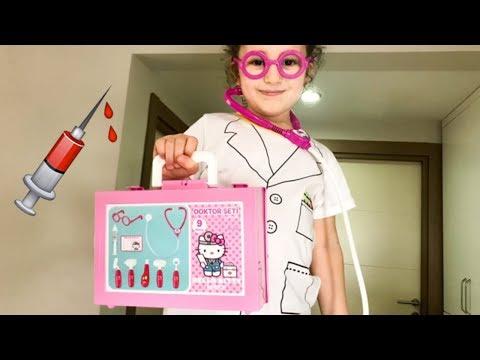 Evcilik Oynuyor Uz. Hello Kitty Doktor Seti Doktorculuk Oyun U   Eğlenceli çocuk Videosu