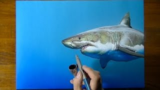 Drawing Time Lapse: a cute shark - art on blue paper