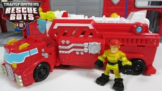 NEW 2016 TRANSFORMERS RESCUE BOTS HEATWAVE HOOK & LADDER FIRETRUCK TRAILER WATER CANNON
