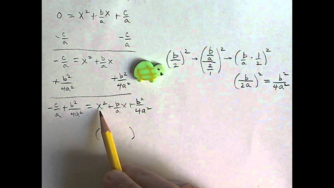 How To Derive The Quadratic Formula From Standard Form Youtube