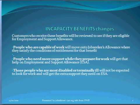 DWP U.K Incapacity Benefit Changes-a brief explanation