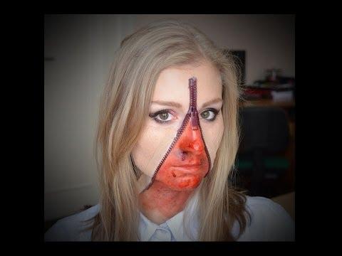 Zipper Face Halloween Makeup Tutorial! - YouTube