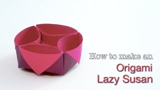 Origami Lazy Susan Box. How to make an easy Origami Box/ Paper Box Tutorial.