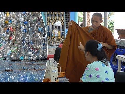 Buddhist Monks Turn Plastic Bottles Into Orange Robes