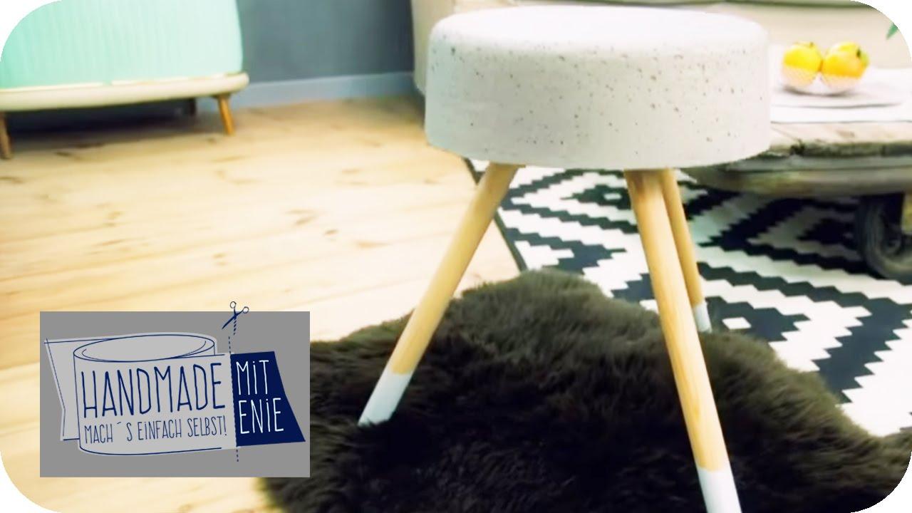 stylischer grauer hocker handmade mit enie mach 39 s einfach selbst sixx youtube. Black Bedroom Furniture Sets. Home Design Ideas