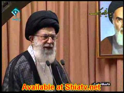 Imam Khamanai (RA) delievers the Khutba of Eid in Tehran University