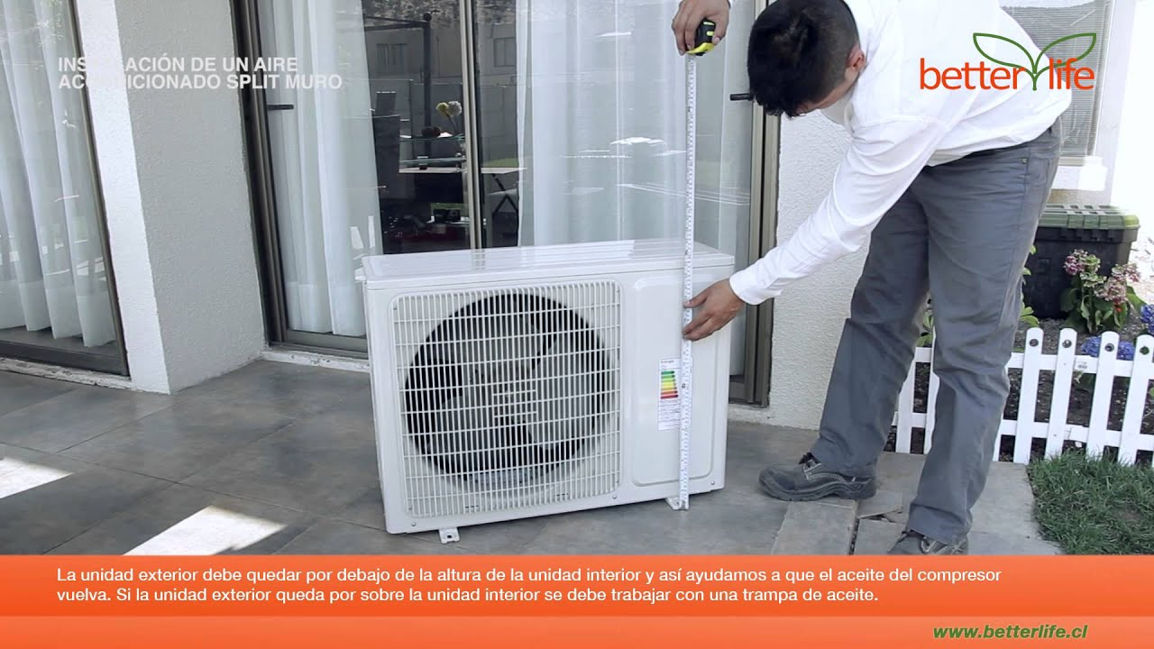 Como instalar un aire acondicionado split muro youtube for Aire acondicionado montaje incluido