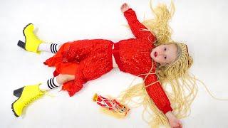 Nastya e pai coleção de vestirse histórias em trajes engraçados para crianças