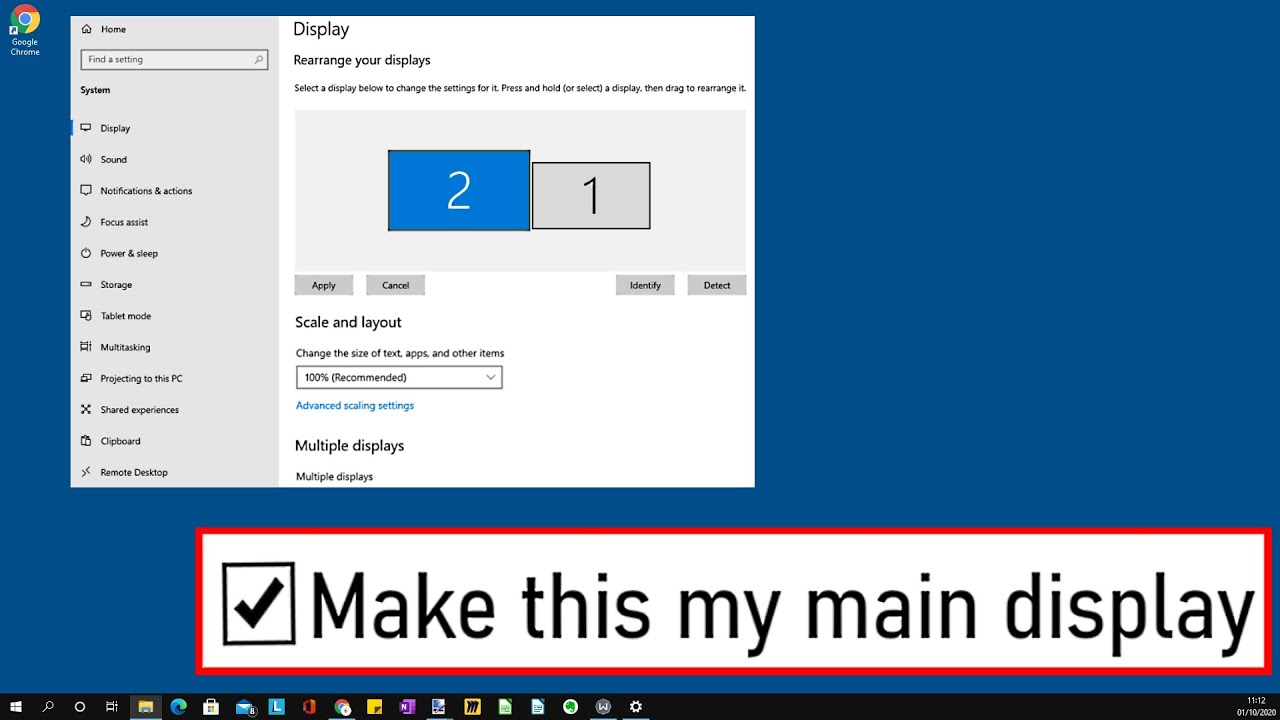 How To Make A Display The MAIN DISPLAY In Windows 10   CHANGE PRIMARY  MONITOR   EASY & SIMPLE HACK
