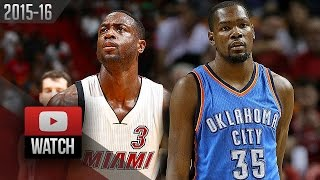 Dwyane Wade vs Kevin Durant EPIC Duel Highlights (2015.12.03) Heat vs Thunder - 53 Pts Total!
