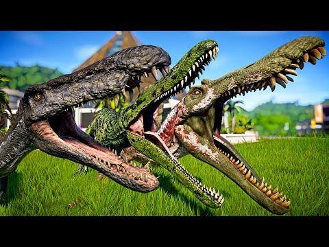 2 Spinosaurus Vs 2 Suchomimus Vs 2 Baryonyx - Jurassic World Evolution Dinosaurs Fight |