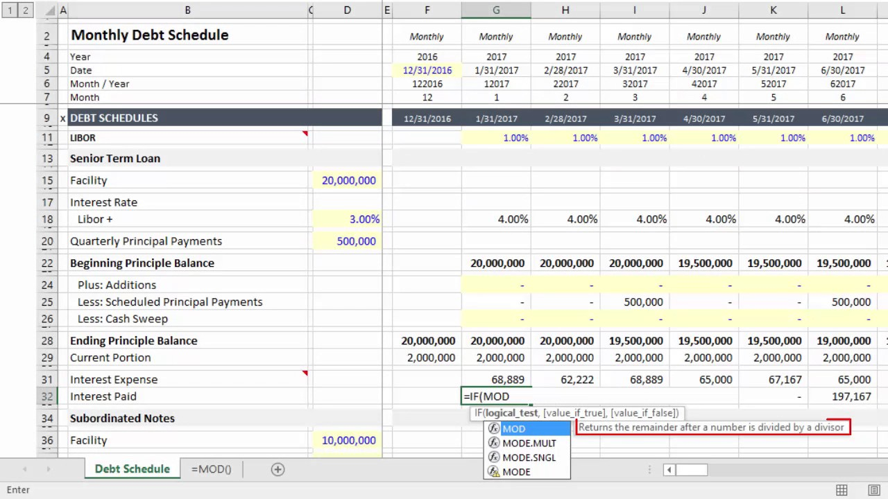excel use mod to calculate quarterly interest payments youtube
