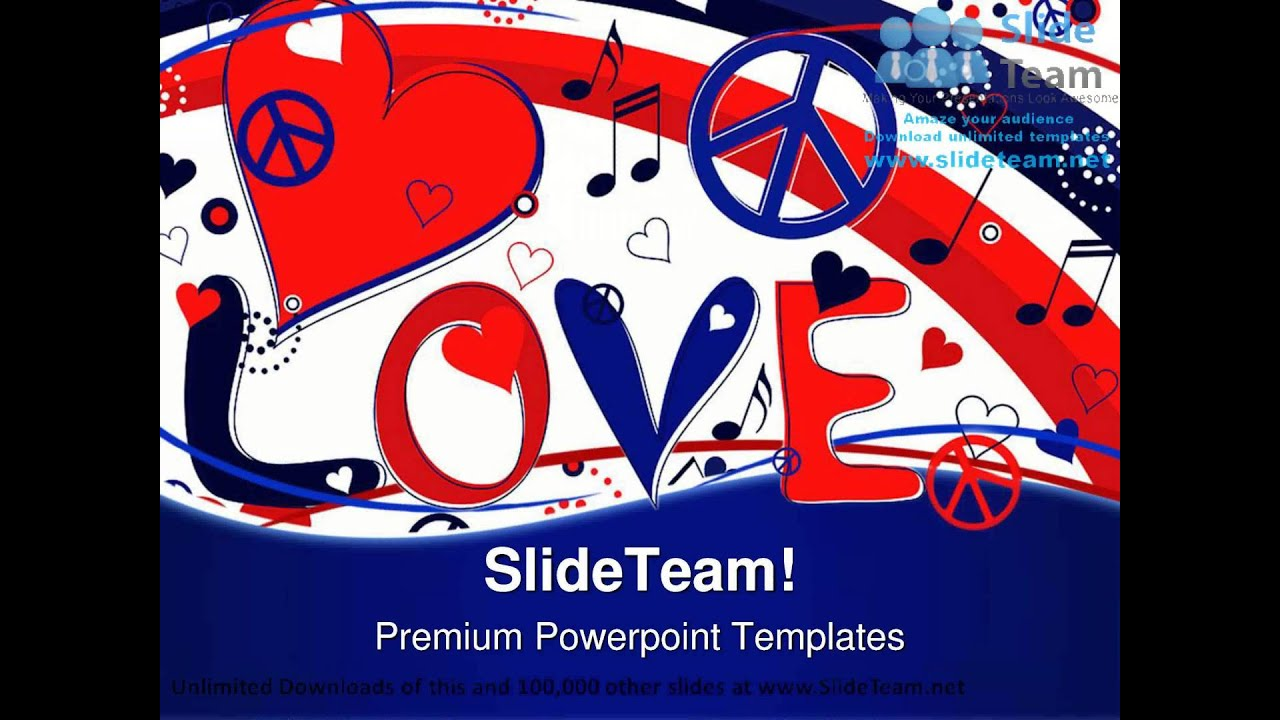 Love Peace And Hearts Symbol Powerpoint Templates Themes And